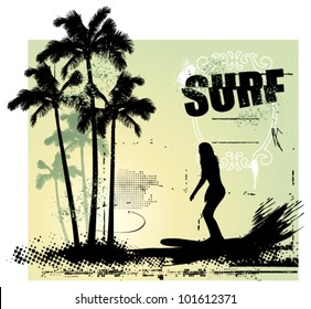 beauty girl surfing in the paradise