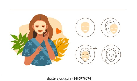 Beauty Girl Take Care of her Face and Use Facial Sheet Mask. Adorable Woman Making Skincare Procedures. Skin Care Routine, Hygiene and Moisturizing Concept. Flat Cartoon Illustration and Icons set.