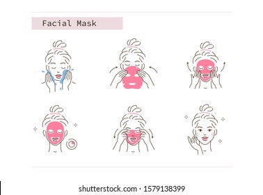 Beauty Girl Take Care of her Face and Applying Facial Sheet Mask. Woman Making Skincare Procedures. Skin Care Routine, Hygiene and Moisturizing Concept. Flat Line Vector  Illustration and Icons set.