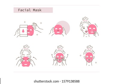 Beauty Girl Take Care of her Face and Use Facial Sheet Mask. Adorable Woman Making Skincare Procedures. Skin Care Routine, Hygiene and Moisturizing Concept. Flat Vector  Illustration and Icons set.