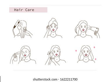 Beauty Girl Take Care of her Hair and Applying Treatment Spray. Woman Washing, Drying Hair with Towel and Hairdryer.  Beauty Care Routine and Procedures. Flat Line Vector  Illustration and Icons set.