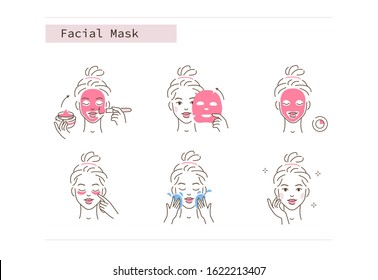 Beauty Girl Take Care of her Face and Applying Facial Sheet and Clay Mask. Woman Making Skincare Procedures. Skin Care Routine, Hygiene and Moisturizing. Flat Line Vector  Illustration and Icons set.