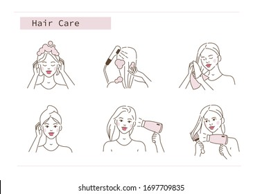 Beauty Girl Take Care of her Hair and Making Treatment Procedures. Woman Shampooing, Washing, Drying Hair with Hairdryer and Wiping with Towel. Flat Line Vector Illustration and Icons set.