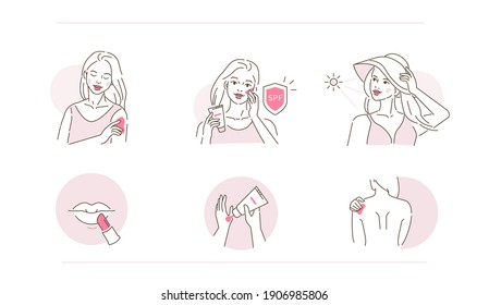 Beauty Girl Take Care of her Face, Body and Use Facial Sunscreen Cream with Spf Protection. Woman Applying Sunblock Product. Sun Protection Skincare. Flat Vector Illustration and Icons set.