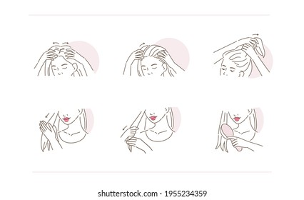 Beauty Girl Take Care of her Damaged Hair and Applying Treatment Serum on Hair Roots and Tips. Woman Making Haircare Procedures.  Flat Line Vector Illustration and Icons set.