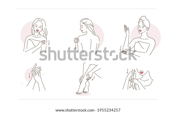 Beauty Girl Take Care of her Body, Hands, Legs and Hair. Woman Applying Beauty Treatment Products. Skin Care Routine, Hygiene and Moisturizing Concept. Flat Vector Illustration and Icons set.