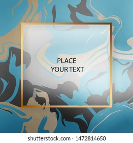 Beauty golden frame with dark seamless abstract blue and golden design pattern. For design presentations, print, flyer, business cards, invitations, calendars, sites, packaging and covers