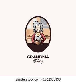 Beauty grandmother cooking bakery in kitchen logo design illustration