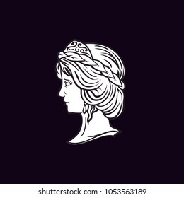Beauty Greek Goddess Head Sculpture logo design inspiration