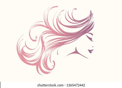 Beauty and hair salon logo.Beautiful woman portrait with long, wavy hairstyle and elegant makeup.Cosmetics and spa illustration isolated on white background.