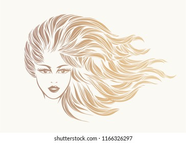 Beauty and hair salon vector illustration.Beautiful woman with long, wavy hair and elegant makeup.Style, cosmetics and fashion icon isolated on light background.