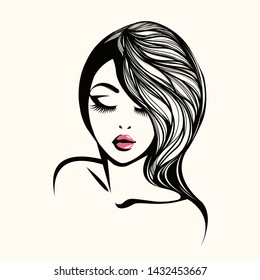 Beauty and hair salon vector illustration.Beautiful woman with elegant hairstyle and makeup.Long eyelashes young female portrait.Spa and cosmetics icon.Long,wavy hair logo isolated on light fund.
