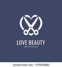 Beauty Haircut Logo Icon with Love and scissors Design Vector