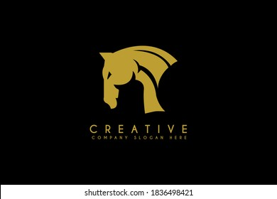Beauty Horse Ranch Stable Stallion Logo design vector illustration. Beauty Horse icon. usable for business and farm logos isolated black background