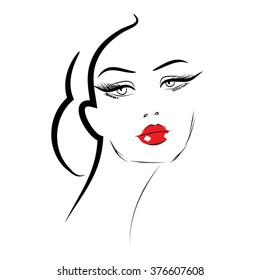 Beauty icon Beautiful woman face