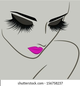 Beauty icon with long lashes closeup