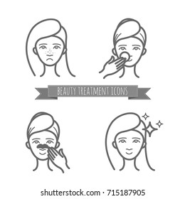 Beauty icons, acne treatment, face cleaning, mask. Illustration for your design
