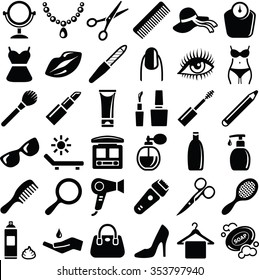 Beauty icons collection - vector silhouette