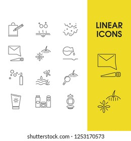 Beauty icons set with acid hyalurofic, beauty water and cosmetic luxury elements. Set of beauty icons and suntan concept. Editable vector elements for logo app UI design.