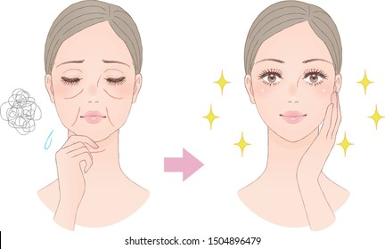 Beauty image to treat sagging faces. Vector