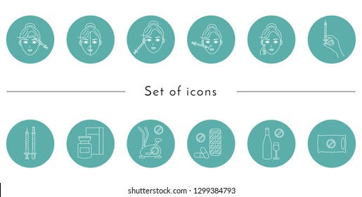 Beauty injection line icon. Woman, face, medical syringe, botox. Beauty care concept. Can be used for topics like rejuvenation, aesthetics, cosmetology