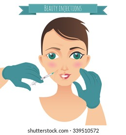 Beauty injections. Face care illustration with doctor's hands. For your design