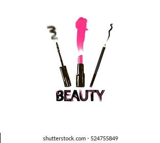 Beauty inscription sign. Set for make-up: lipstick, mascara, eyeliner. logo vector illustration