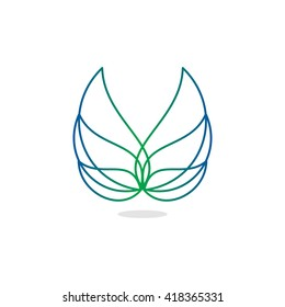 Beauty, isolated, vector, geek, light angel wings, lineart, outline, flat, stylish, elegant, classic stylized logotype, green, blue gradient color logo template, wings, feathers, line element design.
