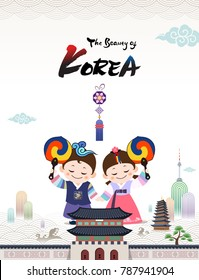 The Beauty of Korea (Korean traditional hanbok child couple character welcomes you to visit Korea with taegeuk fan.)