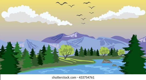 Beauty landscape with lake and mountain