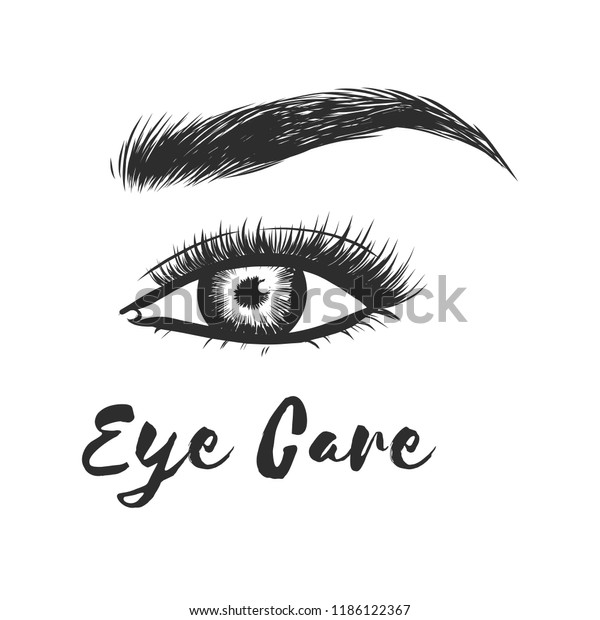b0bf6d788f9 Beauty lash and brow studio logo. Typography poster. Eye, eyebrow and long  eyelashes