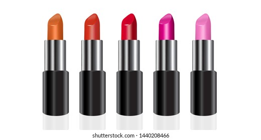 Beauty lipstick color set. red, pink, orange. eps10