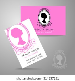 Beauty logo. Design of corporate identity. Template business card for beauty salon, hairdressing salon, spa, women's club and so on.