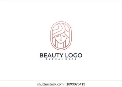 beauty logo design with line style
