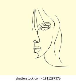 beauty logo vector, beautiful girl face drawing line art