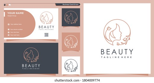 Beauty logo with woman inside circle style and business card design template, flower, logo, woman, Premium Vector