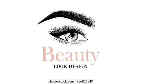 beauty look design business card or logo template with open eye and eyelashes and eyebrow - Eyelash Business Cards