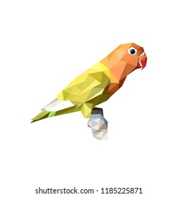 beauty lovebird standing on branch in low poly vector illustration