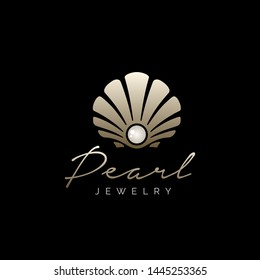Beauty Luxury Elegant Pearl Jewelry Seashell Oyster Scallop Shell Oyster Cockle Clam Mussel logo design