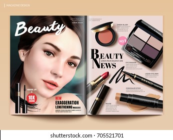 Beauty magazine design, set of makeup products mockup with charming model portrait in 3d illustration, magazine or catalog brochure template for design uses