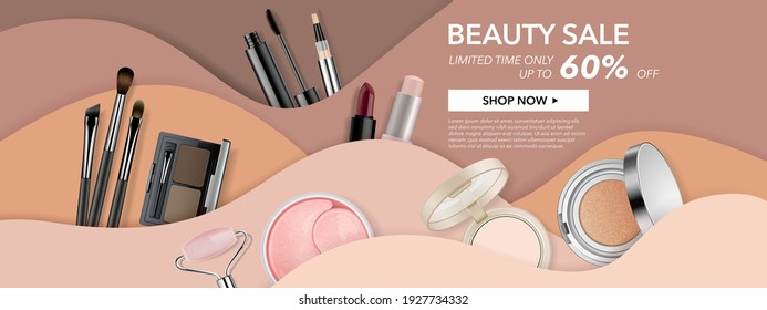 Beauty make up banner template. Cosmetic products on wavy background in nude skin tone colours. Advertising poster design for beauty store, blog, offers and promotion. Vector illustration.