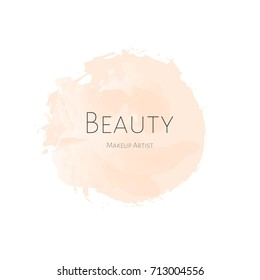 Beauty Makeup artist business card light beige Watercolor stain with inscription beauty. Tag Logo. Vector logotype illusration Isolated.
