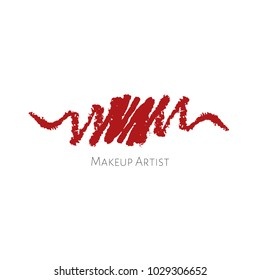Beauty Makeup Artist logo template with red textured Lip pencils drawing stroke. Vector cosmetics sample. Lip pencil smudge strokes. Vector crayon concept. Cosmetics vector stroke.