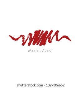 Beauty Makeup Artist logo template with red textured Lip pencils drawing stroke. Vector cosmetics sample. Lip pencil smudge strokes. Vector crayon concept. Cosmetics vector stroke.