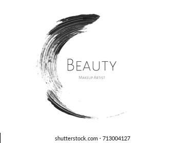 Beauty Makeup Artist logo template with Black textured mascara stroke circle and inscription Beauty on white background. Fashion design of emblem for stylist. Design of logotype and business card
