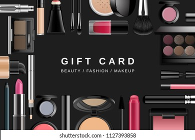Beauty makeup banner. Gift card template with 3d cosmetic products isolated on dark background. Advertising mockup. Illustration of face powder, concealer, eyeshadow, eyeliner, lipstick, nail lacquer.