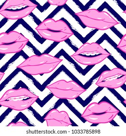Beauty, makeup, cosmetic fashion seamless pattern. Vector pink color doodle lips patches in pop art 80s-90s style. Woman's sexy emotions mouth.