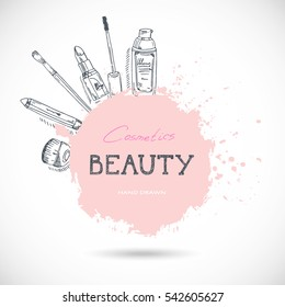 Beauty make-up and cosmetics background, drawing hands emblem. Vector illustration.