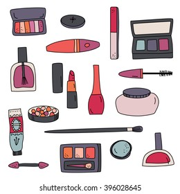 Beauty makeup hand drawn icon doodle illustration