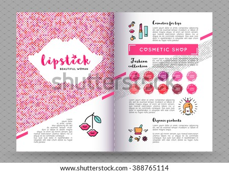 Beauty makeup and lipstick fasion collection brochure A4. The concept of the printing template, directory covers, flyers and web banners on the theme of beauty, cosmetics makeup. Vector illustration